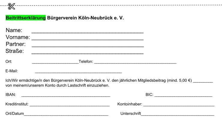 Bürgerverein Neubrück Beitrittserklaerung